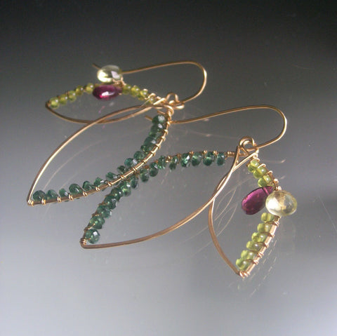 Green Leaf Earrings with Apatite, Vesuvianite, Garnet, 14k Gold Fill