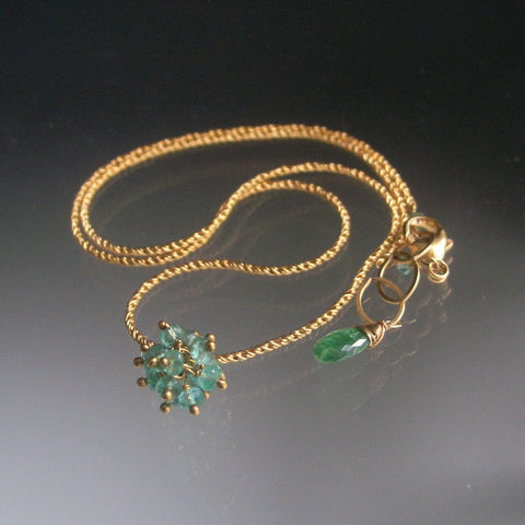 Emerald Cluster Pendant, Gold Filled Necklace