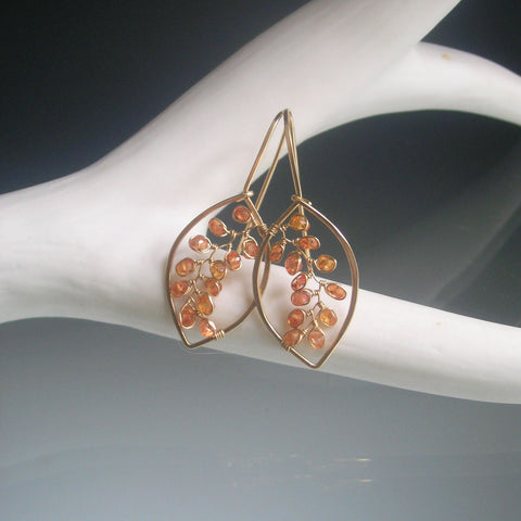 Orange Sapphire Leaf Earrings in 14k Gold Fill