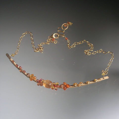 Spessartite Gf Curved Bar Necklace with Golden Sapphires