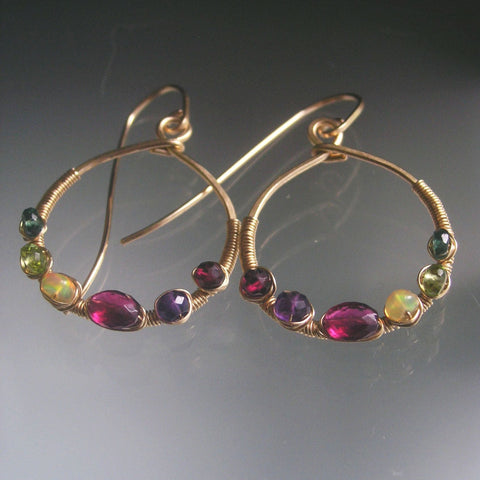 Multi Gemstone Smalle Gold Filled Hoop Earrings with Rubellite Tourmaline, Opal, Peridot
