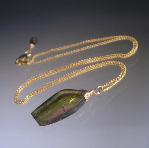 Watermelon Tourmaline Pendant Necklace in 14k Solid Gold