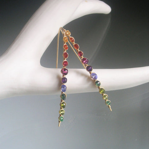SOLD.  Rainbow Gemstone GF Linear Earrings with Sapphire Tanzanite Amethyst Garnet