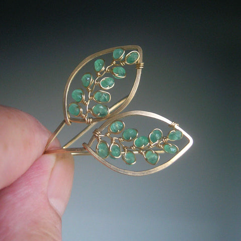 SOLD  14k Gold Filled Leaf Earrings with Emerald Vines