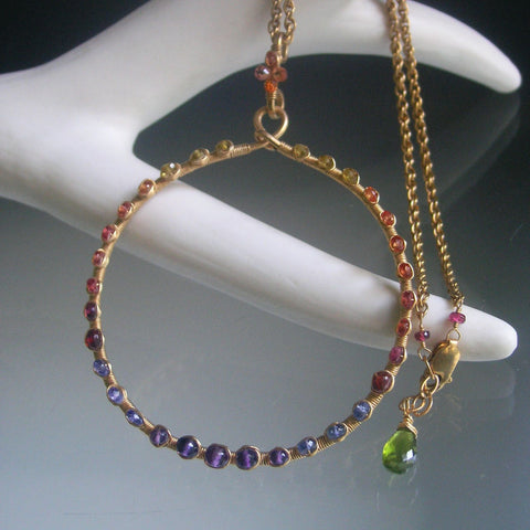 Large Rainbow Gemstone GF Circle Pendant Necklace with Tourmaline, Sapphire, Tanzanite