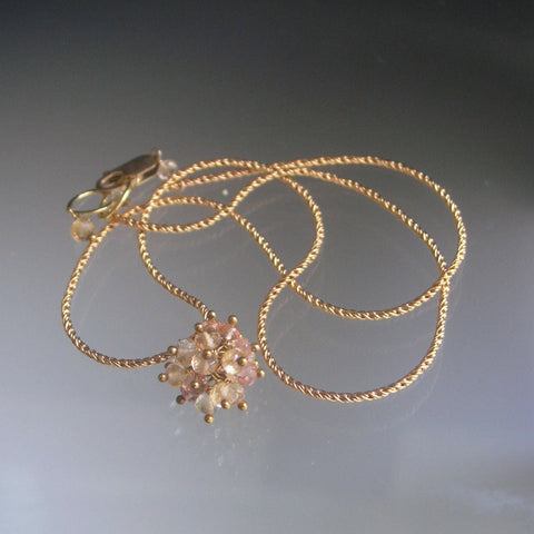 SOLD  Imperial Topaz Cluster Ball Necklace, Delicate, 14k GF