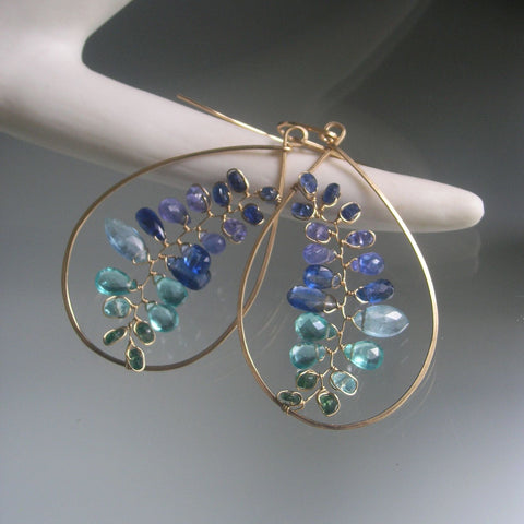 Blue Kyanite Vine Teardrop Earrings in 14k Gold Fill with Tanzanite, Apatite