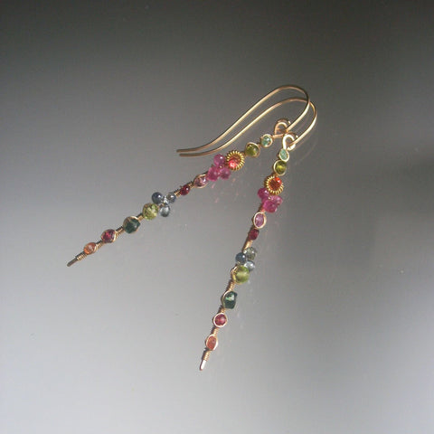 Sold. Pastel Rainbow Linear Earrings in 14k Gold Fill with Emerald, Sapphire