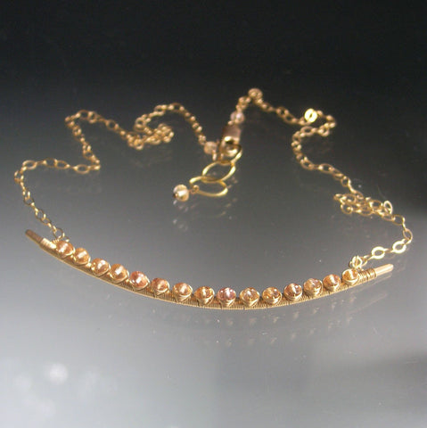 Imperial Topaz 14k GF Curved Bar Necklace