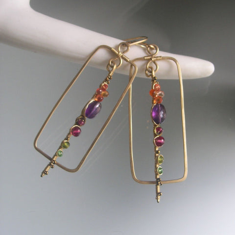 Rectangular GF Earrings with Linear Gemstone Embellished Stems with Sapphire, Amethyst, Tourmaline