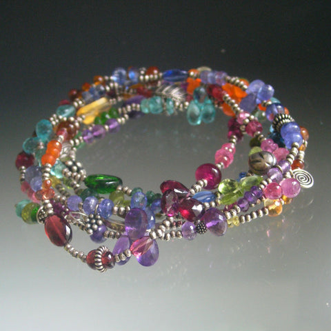 Rainbow Gemstone Sterling Necklace, Wraparound Bracelet, 47""