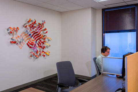 Corporate art installation at PricewaterhouseCooper PwC. Artwork by Christin Hutchinson. Photography © 2016 Andy Spessard Photography