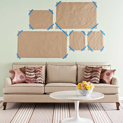 Gallery wall template with brown kraft paper. Courtesy of Better Homes and Gardens