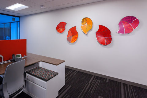 Corporate art installation at PricewaterhouseCooper PwC. Artwork by Linda Leviton. Photography © 2016 Andy Spessard Photography
