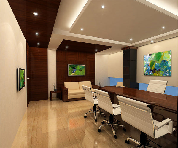 Corporate office meeting room featuring artwork by Frank Satogata | Art Design Consultants