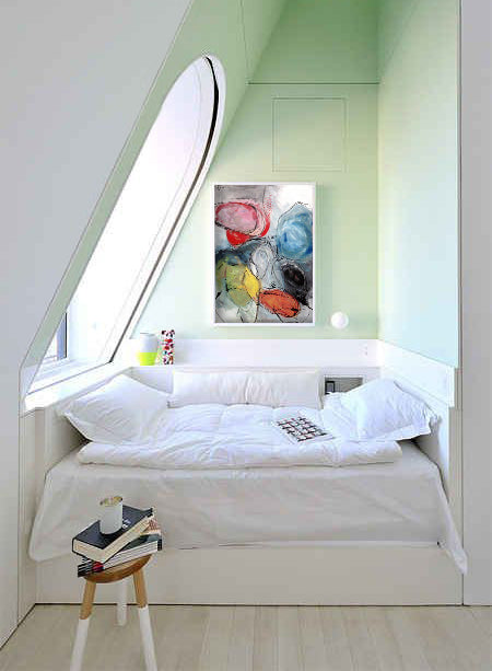 Book nook design style with art by Annie Rodrigue I Art Design Consultants