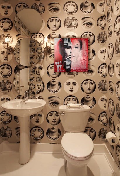Bathroom patterned wallpaper with artwork by Anyes Galleani I Art Design Consultants