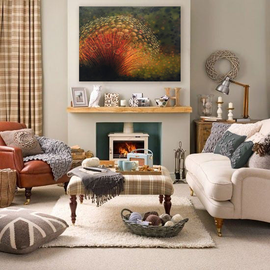 Fall color living room decor design. Artwork by April Willy