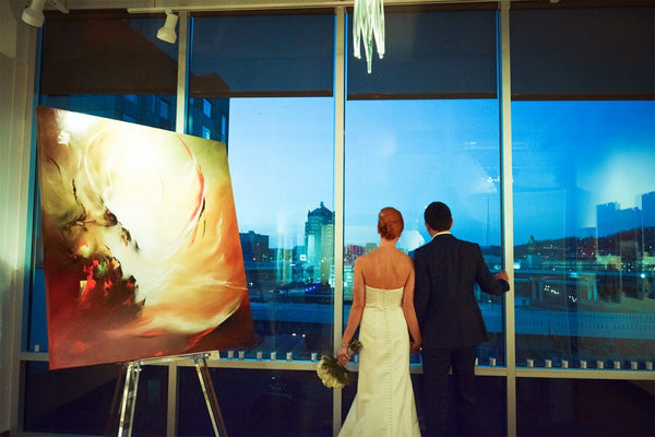 Kristin and Ervin wedding downtown view | Weddings and Events at Art Design Consultants Gallery