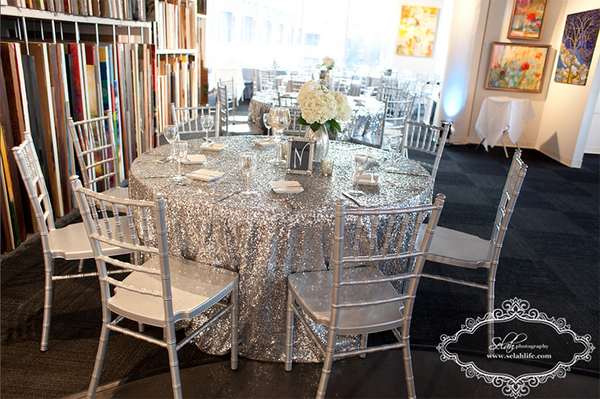 Whitney and Mike table decor | Weddings and Events at Art Design Consultants Gallery
