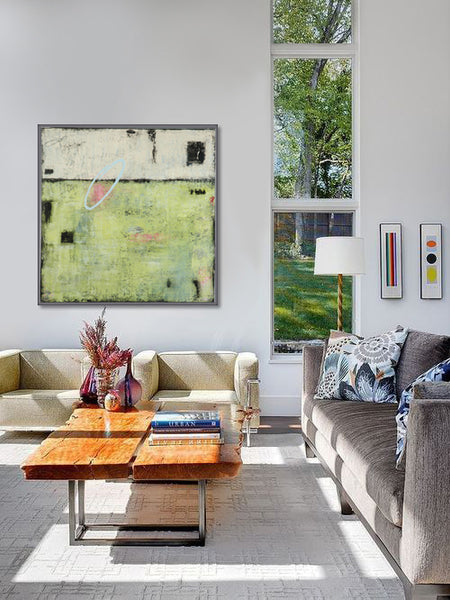 White living room style with artwork by Candace Primack | Art Design Consultants