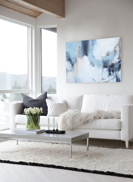 White living room inspiration with artwork by Cat Tesla I Blink Art Resource