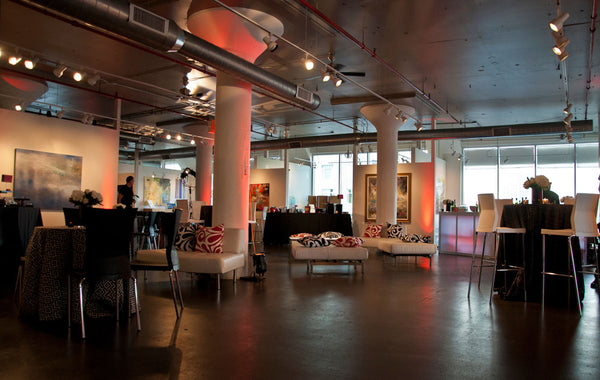 Special events lounge space at Art Design Consultants Gallery in the Sky