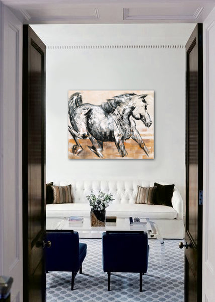 Upscale classic living room design with horse painting by Donna Bernstein | Art Design Consultants