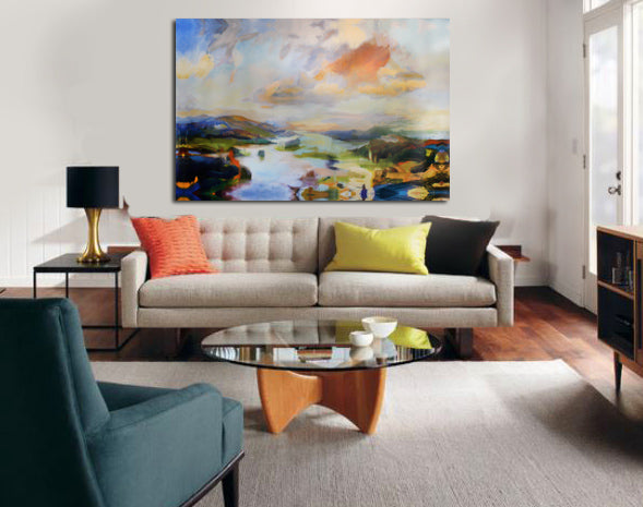 Inspired by spring: dreamy landscape print on canvas in living room | Art Design Consultants