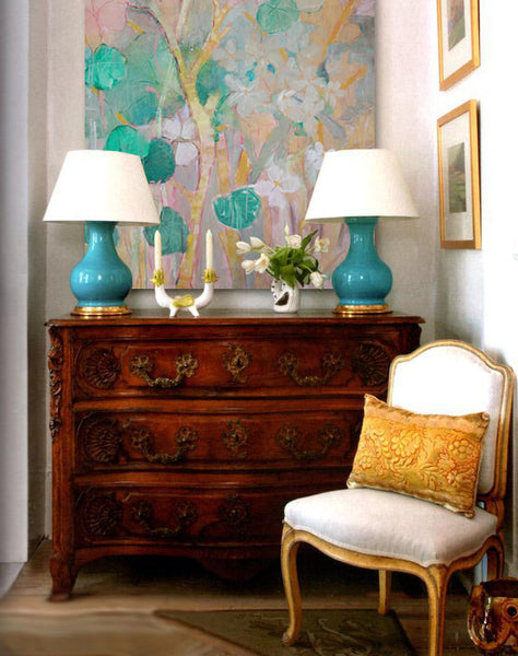 Entryway design inspiration with artwork by Leslie Dyas | Art Design Consultants