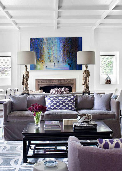 Living room style with artwork inspired by fireworks. Art by Ekaterina Ermilkina | Art Design Consultants