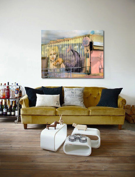 """Living room with """"Mermaid"""" photography by Elizabeth Holmes 