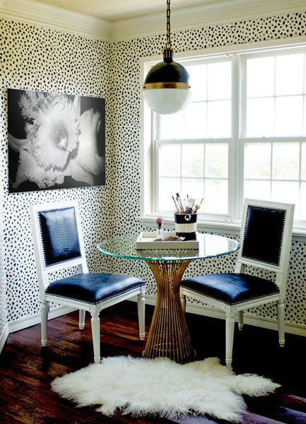 Textured interior design and patterned wallpaper with art by Fran Carlisle I Blink Art Resource
