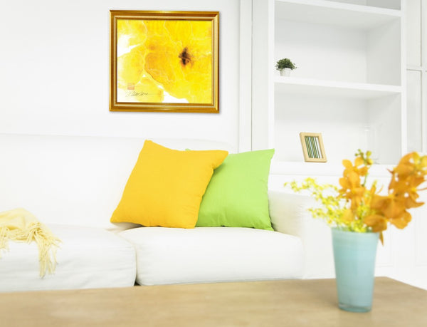 Yellow living room design inspiration | Artwork by Dina Marra | Art Design Consultants