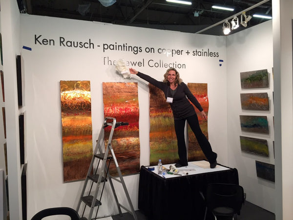 Art Design Consultants booth featuring Ken Rausch copperworks Jewel Collection at ArtExpo New York