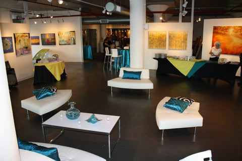 Chic special event party with lounge at Art Design Consultants (ADC) art gallery.