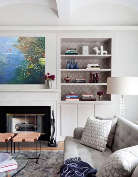 Living room design inspiration with painting by Jan Wagstaff | Art Design Consultants