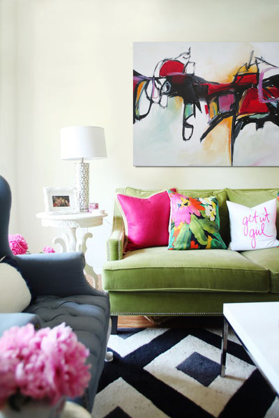 Pink and lime living room style with colorful artwork by Jane Robinson | Art Design Consultants