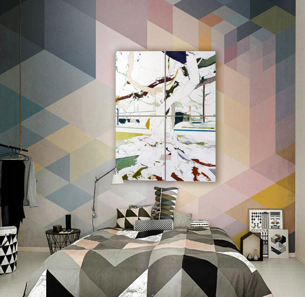 Geometric style bedroom with art by Jill Lear I Art Comes Alive Winner I Art Design Consultants