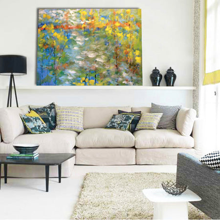 Living room design inspiration with bold abstract painting by Jim Otrembiak | Art Design Consultants
