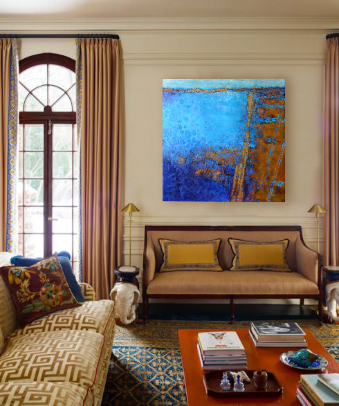 Blue and gold with art by John Metz I Art Design Consultants