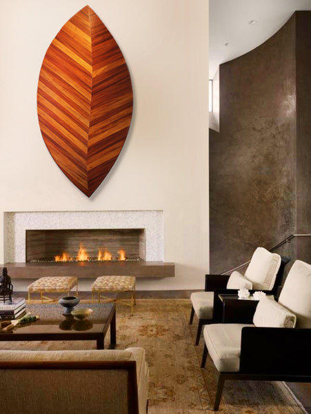 Living Room Inspired by Spring: Wood leaf wall sculpture by Jonathan Cox | Art Design Consultants