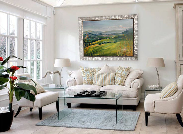 Painting by Karen Sheer with Silver Eco-Friendly Fotiou Frame I Art Design Consultants