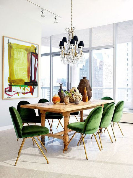 Dining room inspiration with artwork by Robbie Kemper | Art Design Consultants
