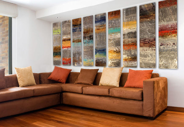 Copper artwork by Ken Rausch living room interior design | Art Design Consultants