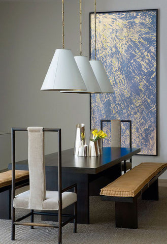 Dining room decor with abstract painting by Kitty Uetz
