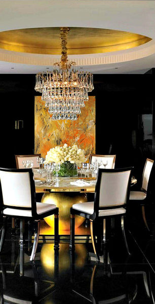 Grand gold dining room inspiration with artwork by Elizabeth LaPenna | Art Design Consultants