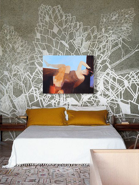 Geometric wall pattern with art by Larry Forgard I Art Design Consultants