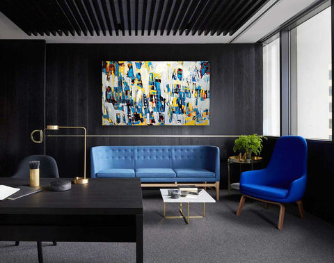 Blue and dark gray living room office decor. Abstract art by Linda Fischer