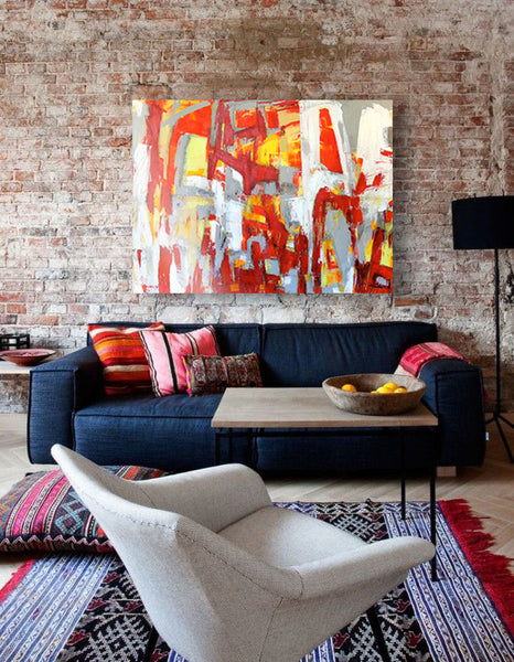 Bold living room style with artwork inspired by fireworks. Art by Linda Fischer | Art Design Consultants